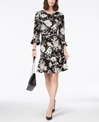 Charter Club Ruffled Floral Print Dress Created For Macy's Deep Black Combo