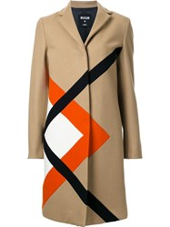 Msgm Graphic Single Breasted Coat Brown