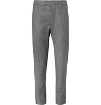 Moncler Gamme Bleu Slim Fit Felted Wool Trousers Gray
