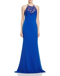 Badgley Mischka Lace Detail Gown Royal Blue