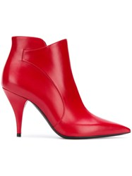 Casadei Pointed Toe Ankle Boots Red