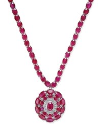 Macy's Certified Ruby 52 Ct. T.W. And Diamond 1 8 Ct. T.W. Pendant Necklace In Sterling Silver Red