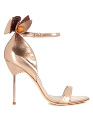 Sophia Webster Maya Embellished Bow Leather Sandals Rose Gold