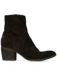 Fauzian Jeunesse' Jeunesse Mid Leather Ankle Boot With Cream Star Detail Black