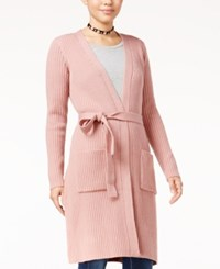 Almost Famous Juniors' Duster Cardigan With Belt Dusty Mauve