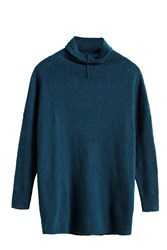 Sandwich Longline Wool Blend Jumper Blue