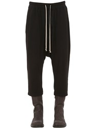 Rick Owens Cropped Light Cotton Jersey Sweatpants Black