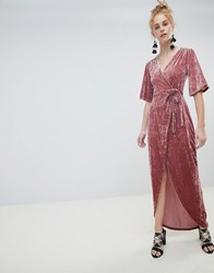 Minimum Moves By Velvet Wrap Maxi Dress Pink