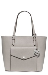 Michael Michael Kors 'Jet Set Large' Saffiano Leather Snap Pocket Tote Grey Nordstrom Exclusive Pearl Grey