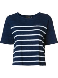 Ag Jeans Striped T Shirt Blue