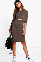 Boohoo Esme Key Hole Detail Knitted Midi Dress Mocha
