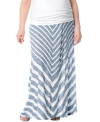 Motherhood Maternity Plus Size Printed Maxi Skirt Heather Blue White