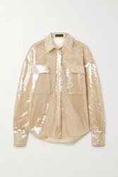 David Koma Oversized Sequined Tulle Shirt Sand