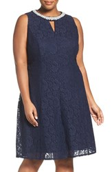 London Times Plus Size Women's Beaded Fit And Flare Lace Dress