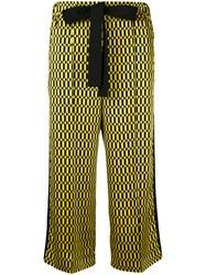 Fendi Geometric Print Cropped Trousers Women Silk Cotton Viscose 44 Yellow Orange