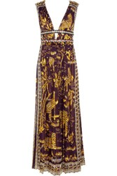 Valentino Leather Trimmed Printed Cotton Gown Plum