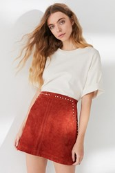 Urban Outfitters Uo Studded Suede Mini Skirt Rust