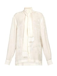 Dolce And Gabbana Pussy Bow Rose Jacquard Blouse White