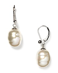 Majorica Baroque Simulated Pearl Drop Earrings White Silver