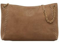 Tory Burch Marion Suede Chain Shoulder Slouchy Tote River Rock Tote Handbags Brown