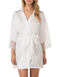 H Halston Satin Charmeuse And Lace Short Robe White