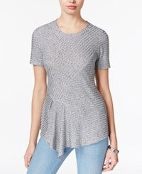 Bar Iii Metallic Asymmetrical Knit Top Only At Macy's Grey Combo