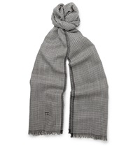 Tom Ford Houndstooth Wool And Silk Blend Scarf Gray