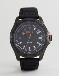 Boss Orange By Hugo 1550032 Honolulu Silicone Watch In Black Black