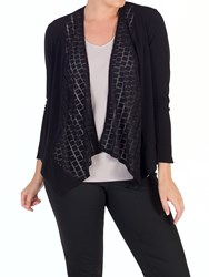 Chesca Jersey Mesh Square Trim Shrug Black
