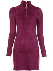 Jitrois Longsleeved Zipped Neck Dress Pink Purple