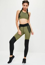 Missguided Active Khaki Fishnet Sports Leggings