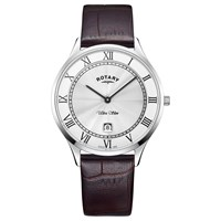 Rotary Gs08300 01 Men's Ultra Slim Date Leather Strap Watch Brown White
