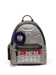 Mcm Stark Leather Insignia Backpack Silver