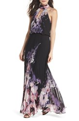 Xscape Evenings Pleated Halter Neck Chiffon Gown Black Pink