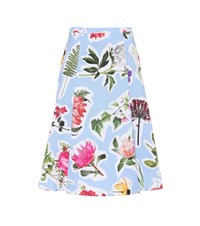 Carolina Herrera Floral Cotton Blend Skirt Blue