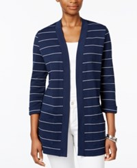 Karen Scott Petite Striped Open Front Cardigan Only At Macy's Intrepid Blue
