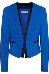 Michael Kors Satin Trimmed Stretch Wool Crepe Blazer Blue