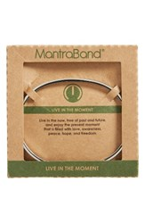 Mantraband Women's Live In The Moment Engraved Cuff Silver