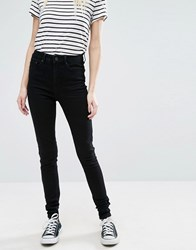 Only High Waist 7 8 Skinny Jeans With Ankle Zip In Black Wash Black