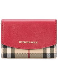 Burberry Horseferry Check Wallet Women Calf Leather Polyester One Size Red