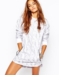 Criminal Damage Sweat Dress With All Over Print White