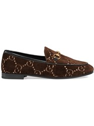 Gucci Jordaan Gg Velvet Loafers Velvet Calf Leather Brown