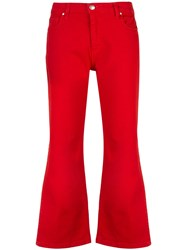 Federica Tosi Cropped Side Slit Jeans Red