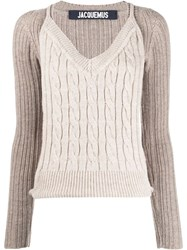 Jacquemus Layered Style Knitted Jumper Neutrals