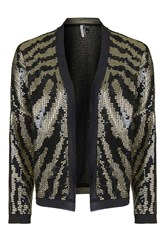 Topshop Tiger Sequin Jacket Black