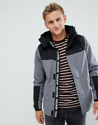 Hollister Hooded Midweight Parka Jacket Contrast Detail Seagull Logo In Textured Grey Textured Grey