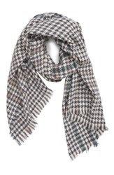 Saachi Houndstooth Plaid Oblong Scarf Grey Ivory
