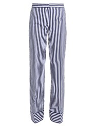 Msgm Striped Cotton Trousers