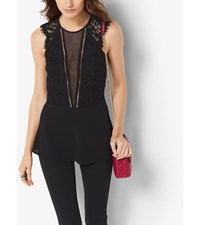 Sleeveless Lace And Chiffon Blouse Black
