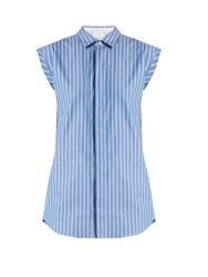 Golden Goose Buttoned Back Striped Cotton Sleeveless Shirt Blue White